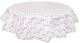 Round Oilcloth Tablecloths in Stars Red White and Blue