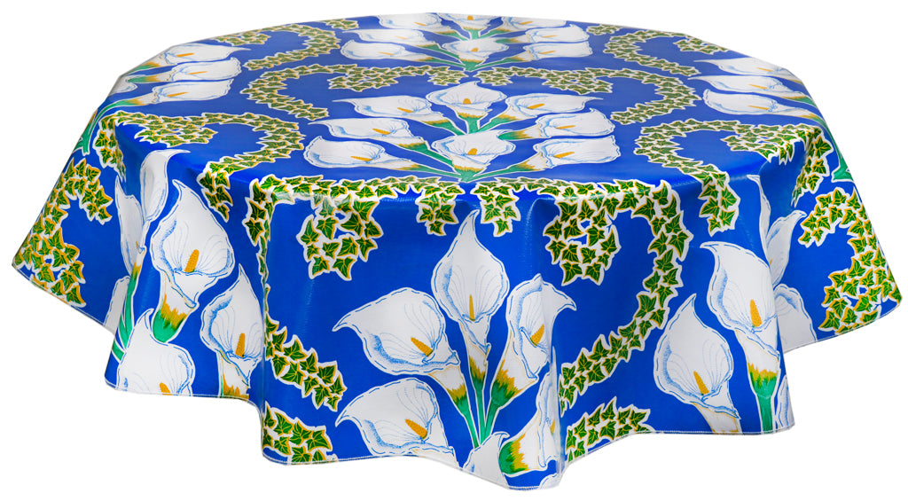 Freckled Sage Round Tablecloth Calla Lilies on Blue