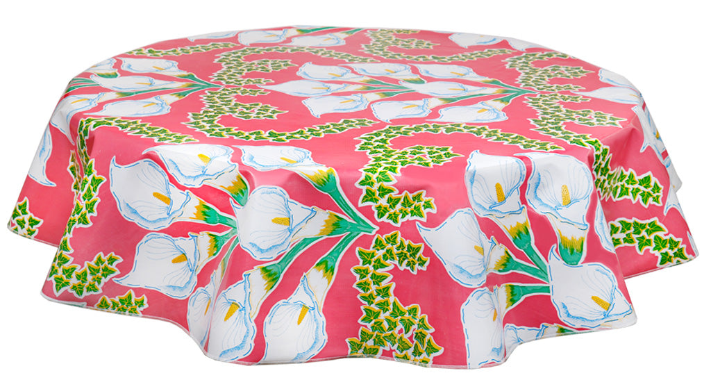 Round Oilcloth Tablecloth in Calla Lily Pink