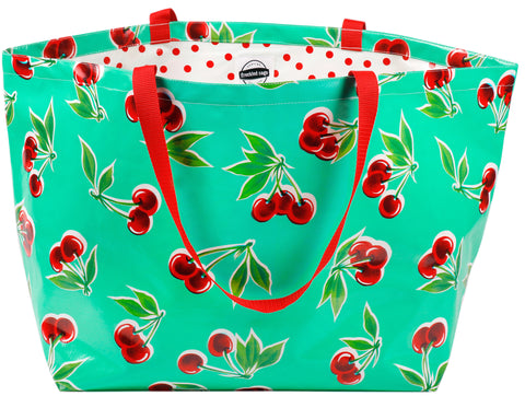 Freckled Sage Oilcloth Extra Large Tote Cherry Aqua