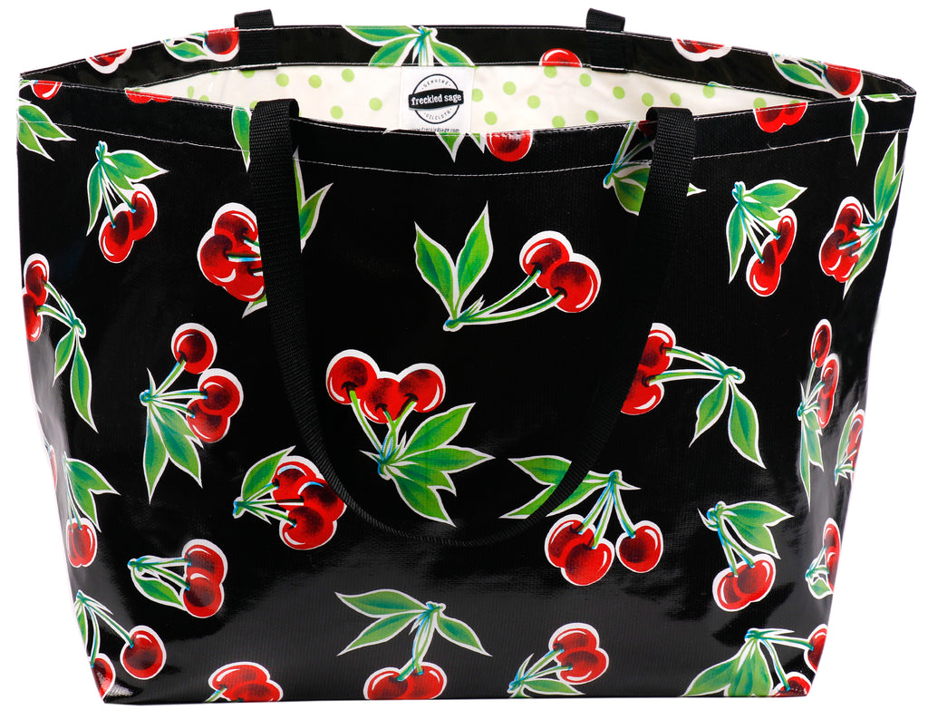 Freckled Sage Oilcloth Extra Large Tote Cherry Black