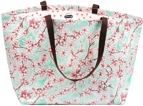 Freckled Sage Oilcloth Extra Large Tote Bag Cherry Blossom Aqua