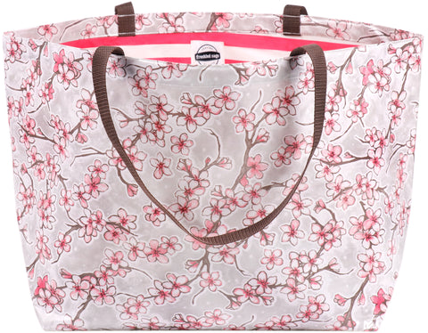Freckled Sage Oilcloth Extra Large Tote Bag Cherry Blossom Silver