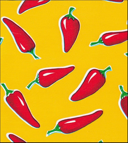 "Slightly Imperfect 79""Round Oilcloth Tablecloth in Chili Pepper on Yellow"