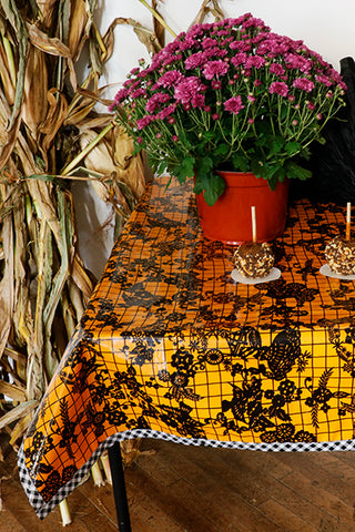 Halloween Black on Orange Day of the Dead with Black Gingham Trim Oilcloth Tablecloth You Pick The Size