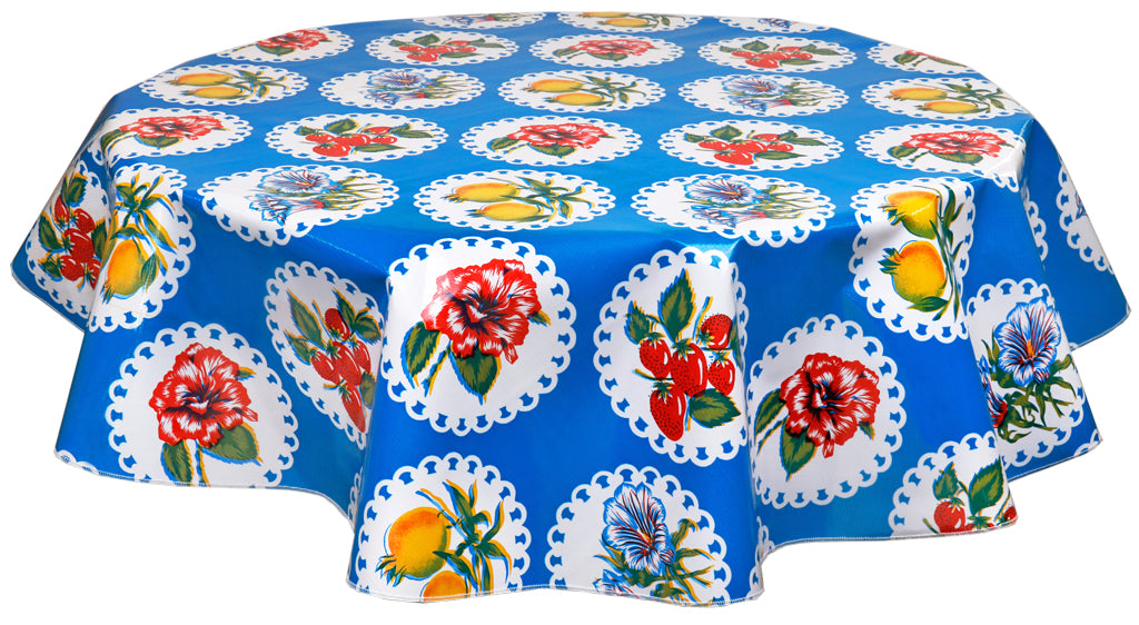 Round Oilcloth Tablecloth in Doily 2 Blue