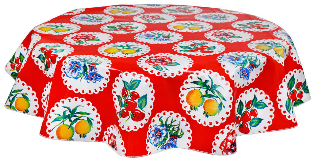 Round Oilcloth Tablecloth in Doily 2 Red