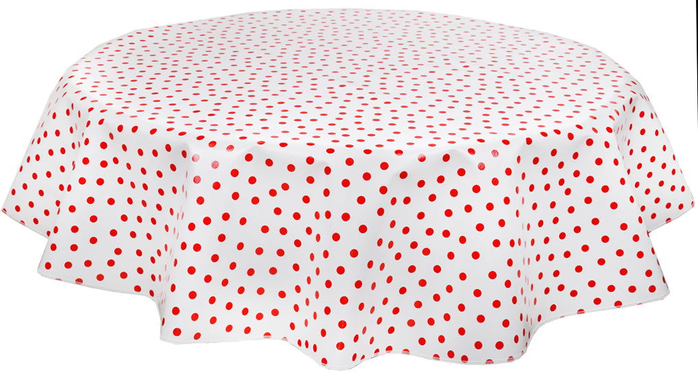 "Slightly Imperfect 60"" Round Oilcloth Tablecloth in Red Dot"