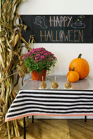 Halloween Tablecloth Black Stripes with Orange Gingham Trim Oilcloth