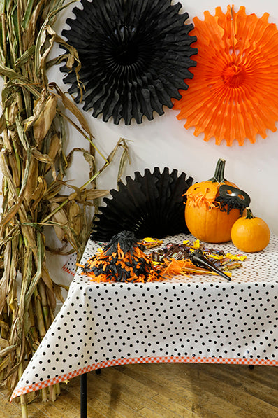 Halloween Tablecloth Black Dots with Orange Gingham Trim Oilcloth You Pick The Size
