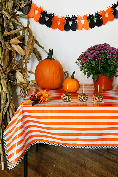 Halloween Stripe Orange With Black Gingham Trim Oilcloth Tablecloth You Pick The Size