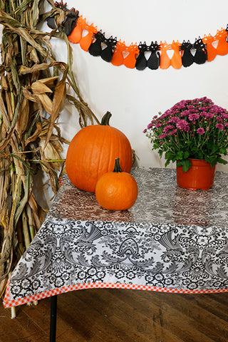 Halloween Toile Black With Orange Gingham Trim Oilcloth Tablecloth You Pick The Size
