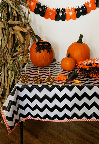 Halloween Black Chevron with Orange Gingham Trim Oilcloth Tablecloth You Pick The Size