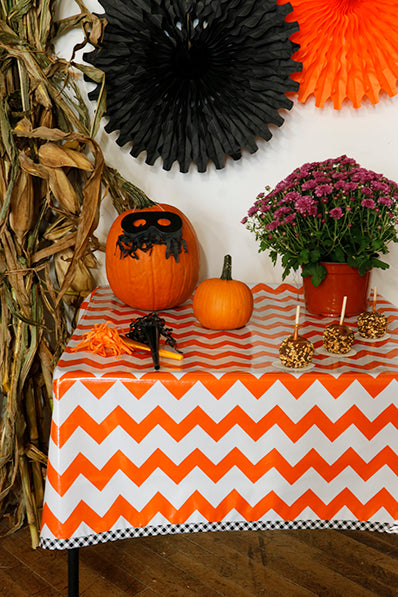 Halloween Orange Chevron With Black Gingham Trim Oilcloth Tablecloth You Pick The Size