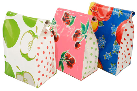 Freckled Sage Oilcloth Lunch Bag Apples and Cherries Combo