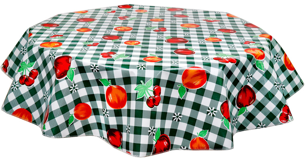 Round Oilcloth Tablecloth in Gingham and Fruit Green