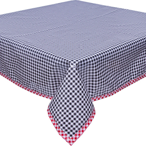 freckled sage black gingham with red gingham trim tablecloth