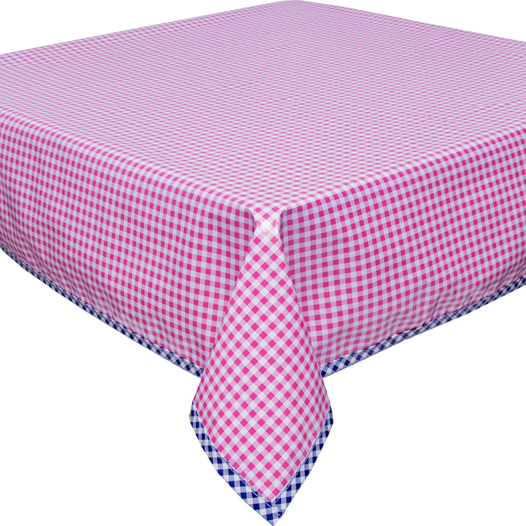 Freckled Sage Pink Gingham with Navy Gingham Trim Oilcloth Tablecloth
