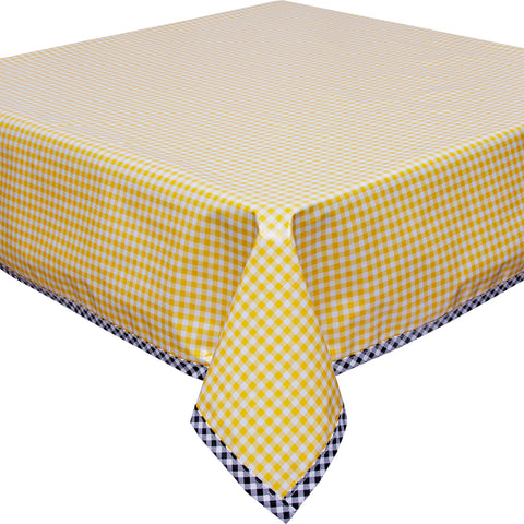 Freckled Sage Yellow Gingham with Black Gingham Trim Tablecloth