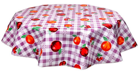 Freckled Sage Round Tablecloth Fruit & Gingham Purple
