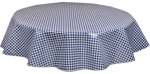 Round Oilcloth Tablecloths in Navy Gingham