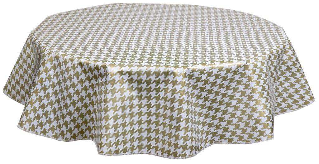 Round Oilcloth Tablecloth in Houndstooth Gold