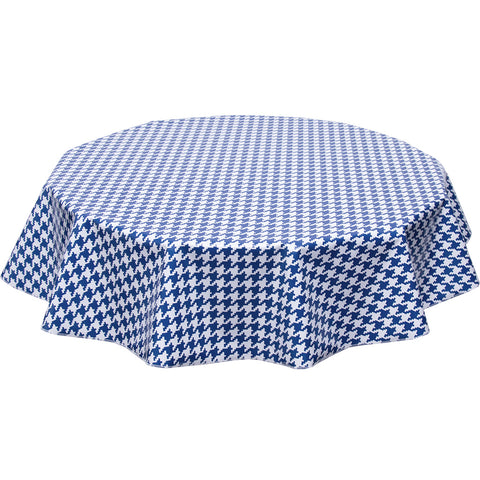 freckled sage round tablecloth houndstooth navy