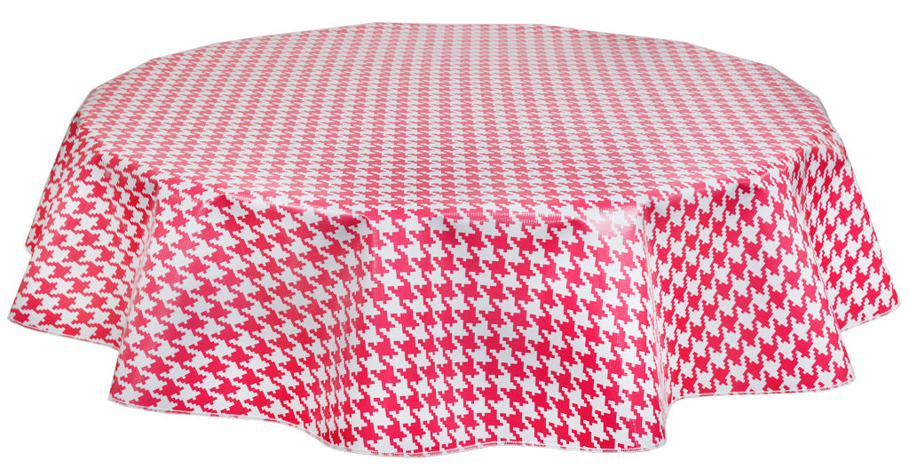 Round Oilcloth Tablecloth in Houndstooth Pink