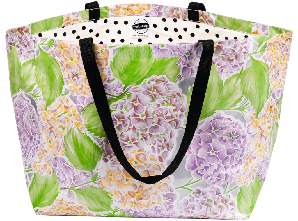 Freckled Sage Extra Large Oilcloth Tote in Hydrangea Silver