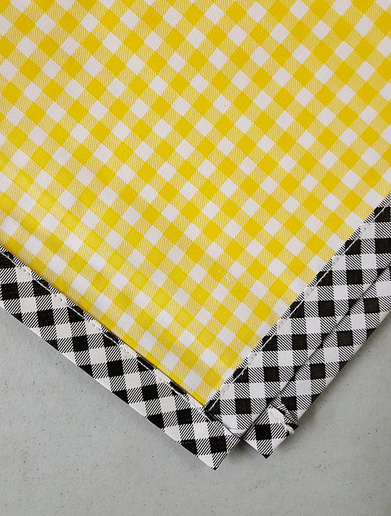 Freckled Sage Oilcloth Tablecloth Yellow Gingham