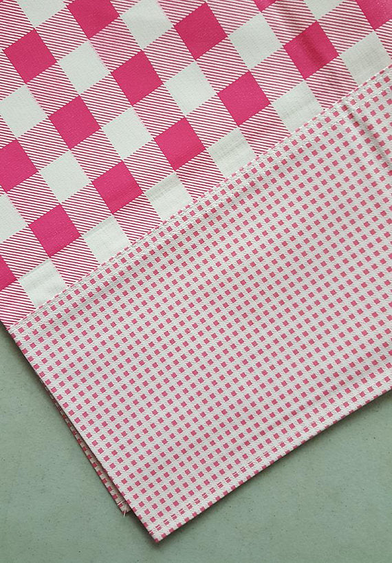 Freckled Sage Oilcloth Tablecloth Buffalo Check Pink