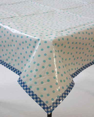 Slightly Imperfect Dot Light Blue Oilcloth Tablecloth with Blue Gingham Trim