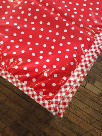 Slightly Imperfect 30x61 Oilcloth Tablecloth in White Dot on Red with Red Gingham Trim