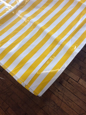 52x65 Stripe Yellow Oilcloth Tablecloth with a Simple Hem