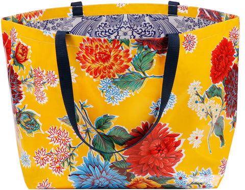 Freckled Sage Extra Large Oilcloth Tote in Mum Yellow