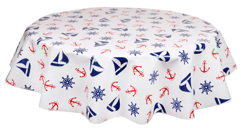 Round Oilcloth Tablecloth in Nautical Red & Blue