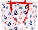Freckled Sage Extra Large Oilcloth Tote in Nautical Navy