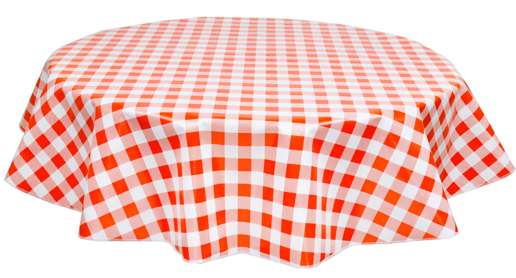 Round Oilcloth Tablecloth in Large Gingham Orange