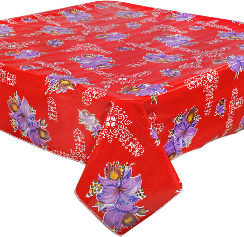 Slightly Imperfect Purple Orchids on Red Oilcloth Tablecloth