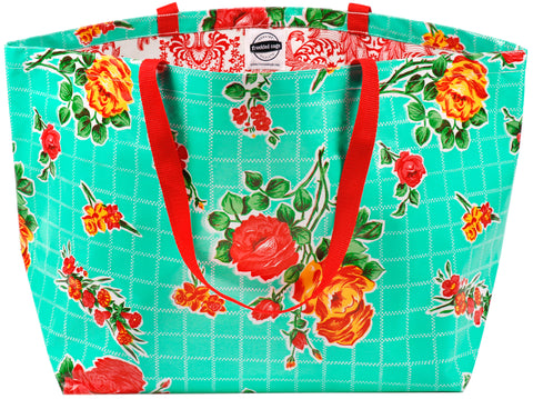 Freckled Sage Oilcloth Tote Bag Rose Aqua