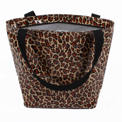 Freckled Sage Silver Lined Tote Leopard