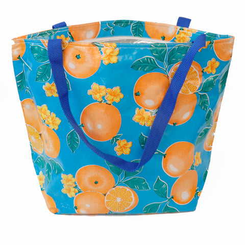Freckled Sage Silver Lined Tote Orange Blue