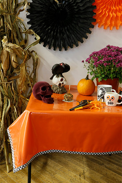 Halloween Solid Orange With Black Gingham Trim Oilcloth Tablecloth You Pick The Size