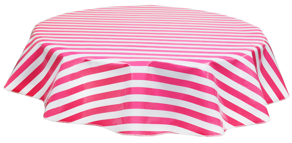 Round Oilcloth Tablecloths in Stripe Pink