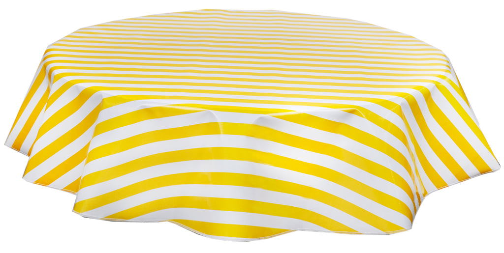 "68"" Round Oilcloth Tablecloth in Stripe Yellow"