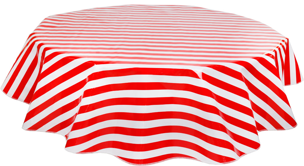 Round Oilcloth Tablecloth in Stripe Red