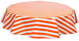 Round Oilcloth Tablecloths in Stripe Orange