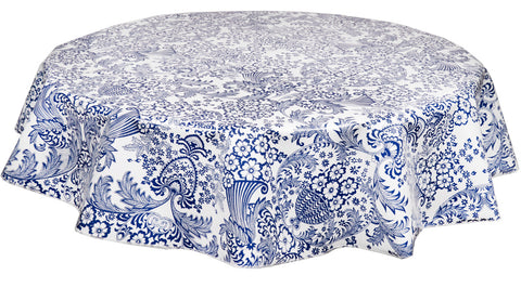 Freckled Sage Round Tablecloth Toile Blue