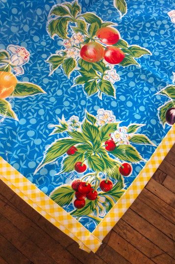 Plum Blue Oilcloth Tablecloth with Yellow Gingham Trim