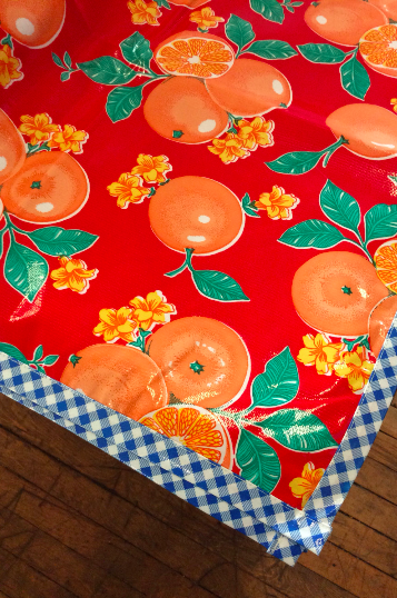 Oranges Red Oilcloth Tablecloth with Blue Gingham Trim